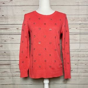 Maison Jules Jeweled Sweater Coral Size S